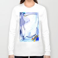skiing Long Sleeve T-shirts featuring Downhill Skiing by Robin Curtiss