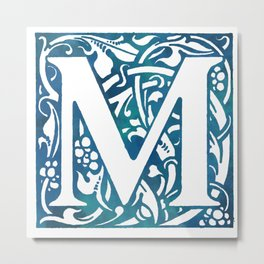 Letter M Antique Floral Letterpress Metal Print