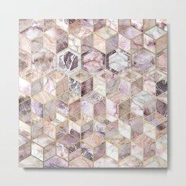 Blush Quartz Honeycomb Metal Print
