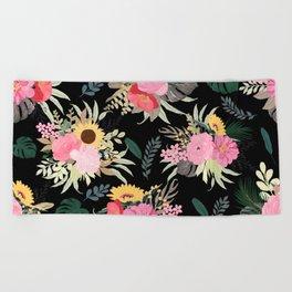 Watercolor Poppy & Sunflowers Floral Black Design Beach Towel