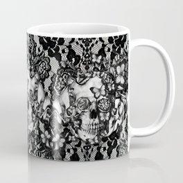 Rose skull on black lace base. Coffee Mug