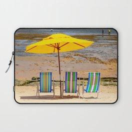 Beach chairs and umbrella at the Atlantic coast of Bahia, Brazil | Fine art travel photography print.  Laptop Sleeve