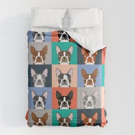 Boston Terriers tile pattern cute boston terrier puppies funny dog breed pet art gift for dog person Comforters