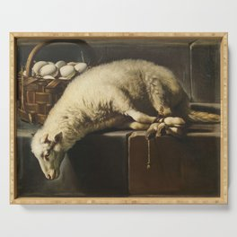 A ligated lamb besides a basket of eggs, an Allegory of Easter Serving Tray