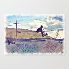 Graffitti Glide Stunt Scooter Sports Artwork Canvas Print