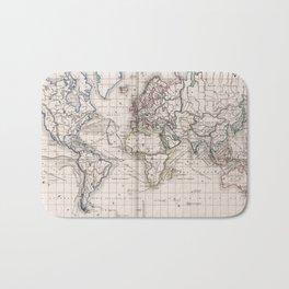 Vintage Map of The World (1856) Bath Mat