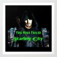 green arrow Art Prints featuring Arrow by GrOoVy Photo Art