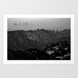 Veiled Los Angeles from Bronson Canyon hiking trial Art Print