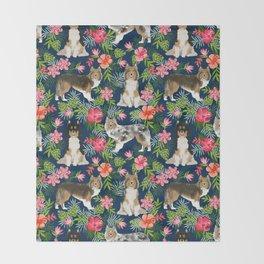 Sheltie shetland sheepdog hawaii floral hibiscus flowers pattern dog breed pet friendly Throw Blanket