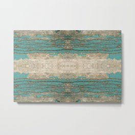Rustic Wood - Weathered Wooden Plank - Beautiful knotty wood weathered turquoise paint Metal Print