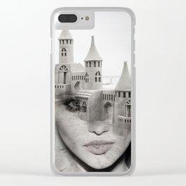 Sand castle. Double exposure portrait Clear iPhone Case