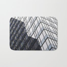 blue glass and steel abstract urban design Bath Mat