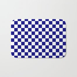 Navy Blue and White Large Check Bath Mat