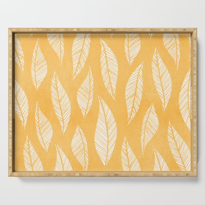 Modern Tropical Leaf Pattern - Yellow Serving Tray