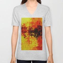 Yellow Abstract Art Unisex V-Neck