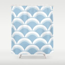 Japanese Fan Pattern Pale Blue Shower Curtain