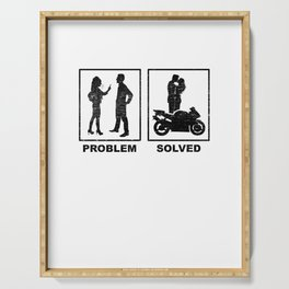Funny Motorbike Rider Wife Problem Solution Gift Serving Tray