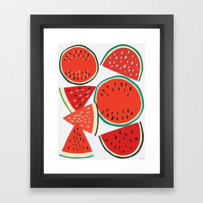 Sliced Watermelon Framed Art Print