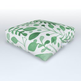 Branches and leaves - green Outdoor Floor Cushion