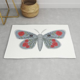 spider web and rose (made up moth) Rug