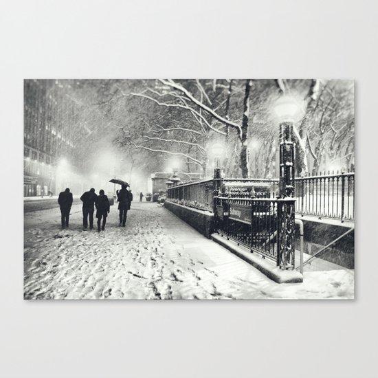 New York City Snow Bryant Park Canvas Print