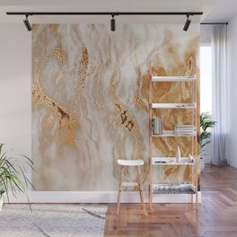 Glamorous Gold Glitter Vein Marble With Copper Sparkles Wall Mural