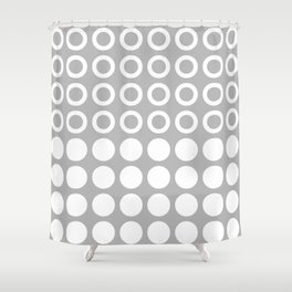 Mid Century Modern Circles And Dots Grey Shower Curtain