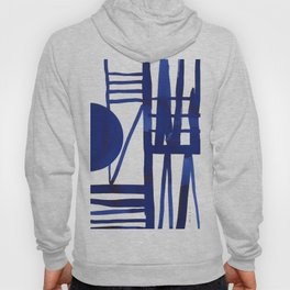 Blue grid -abstract minimalist ink painting Hoody