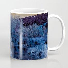 Alien landscape blue indigo yellow water forest garden Coffee Mug