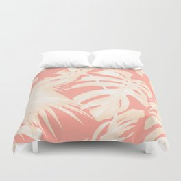 Tropical Coral Pink Palm Leaf Pattern Duvet Cover