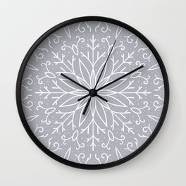 Single Snowflake - Silver Wall Clock