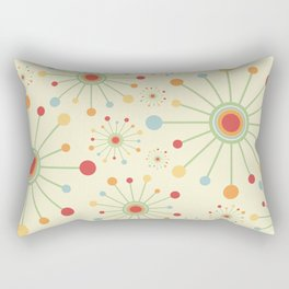 Mid Century Modern Retro 1970s Inspired SunBurst in Muted Colors Rectangular Pillow