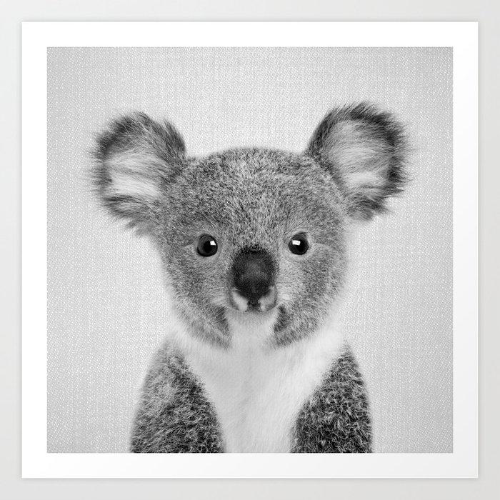 Baby koala black white art print by galdesign society6 - Pictures of koalas and baby koalas ...