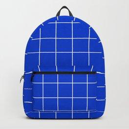 Grid Pattern Bright Cobalt Blue 003DCE Stripe Line Minimal Stripes Lines Spring Summer Backpack