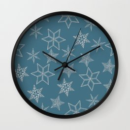 Silver Snowflakes On Teal Background Wall Clock