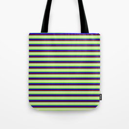 Vibrant Light Green, Bisque, Chartreuse, Blue & Dark Red Colored Pattern of Stripes Tote Bag
