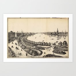 Vintage Pictorial Map of The Charles River (1886) Art Print