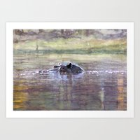 hippo Art Prints featuring Hippo by Saskia von Sperber