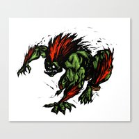 street fighter Canvas Prints featuring Blanka Rush! - Street Fighter by Peter Forsman