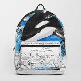 Playful Baby Orca Vintage Map Backpack