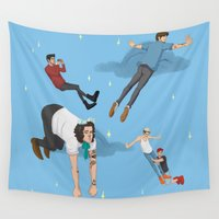 neverland Wall Tapestries featuring Off To Neverland by Ashley R. Guillory