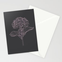 Pink Hydrangea on Gray  Stationery Cards