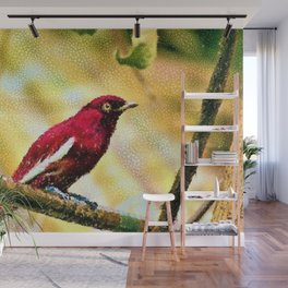 Red Pompadour Cotinga Portrait Painting by Jeanpaul Ferro Wall Mural
