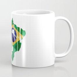 Brasil Typographic World Map / Brasil Typography Flag Map Art Coffee Mug