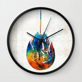 Colorful Horseshoe Crab Art by Sharon Cummings Wall Clock