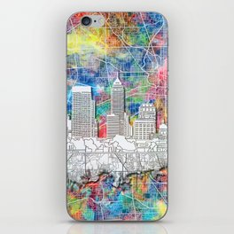 indianapolis city skyline watercolor iPhone Skin