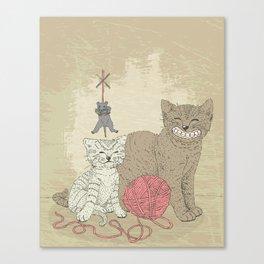 Naughty Cats Canvas Print