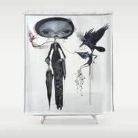 gothic Shower Curtains featuring gothic kebaya by meme