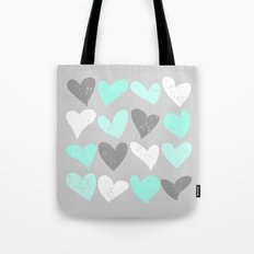 Mint white grey grunge hearts Tote Bag