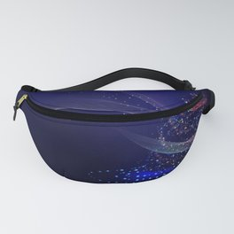 Blue Sparkling Holiday Christmas Tree Modern Fanny Pack